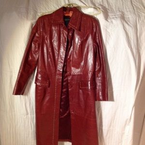 Dark red leather long coat